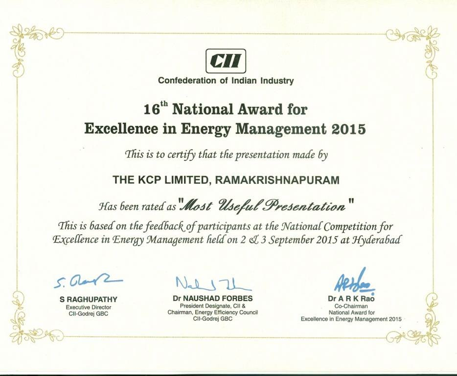 CII National Award for Excellence in Energy Management (2015)