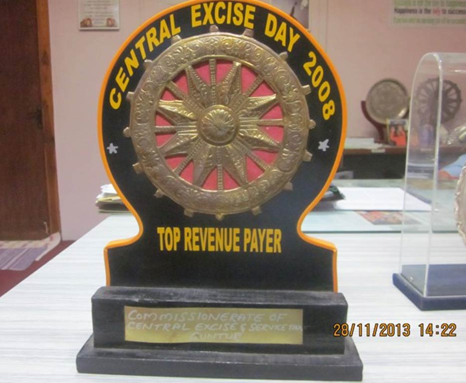 Top Revenue Payer Award for the year 2008 from Commissionrate of Central Excise & Service Tax, Guntur.